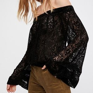 Free People Ginger Berry Off The Shoulder Blouse